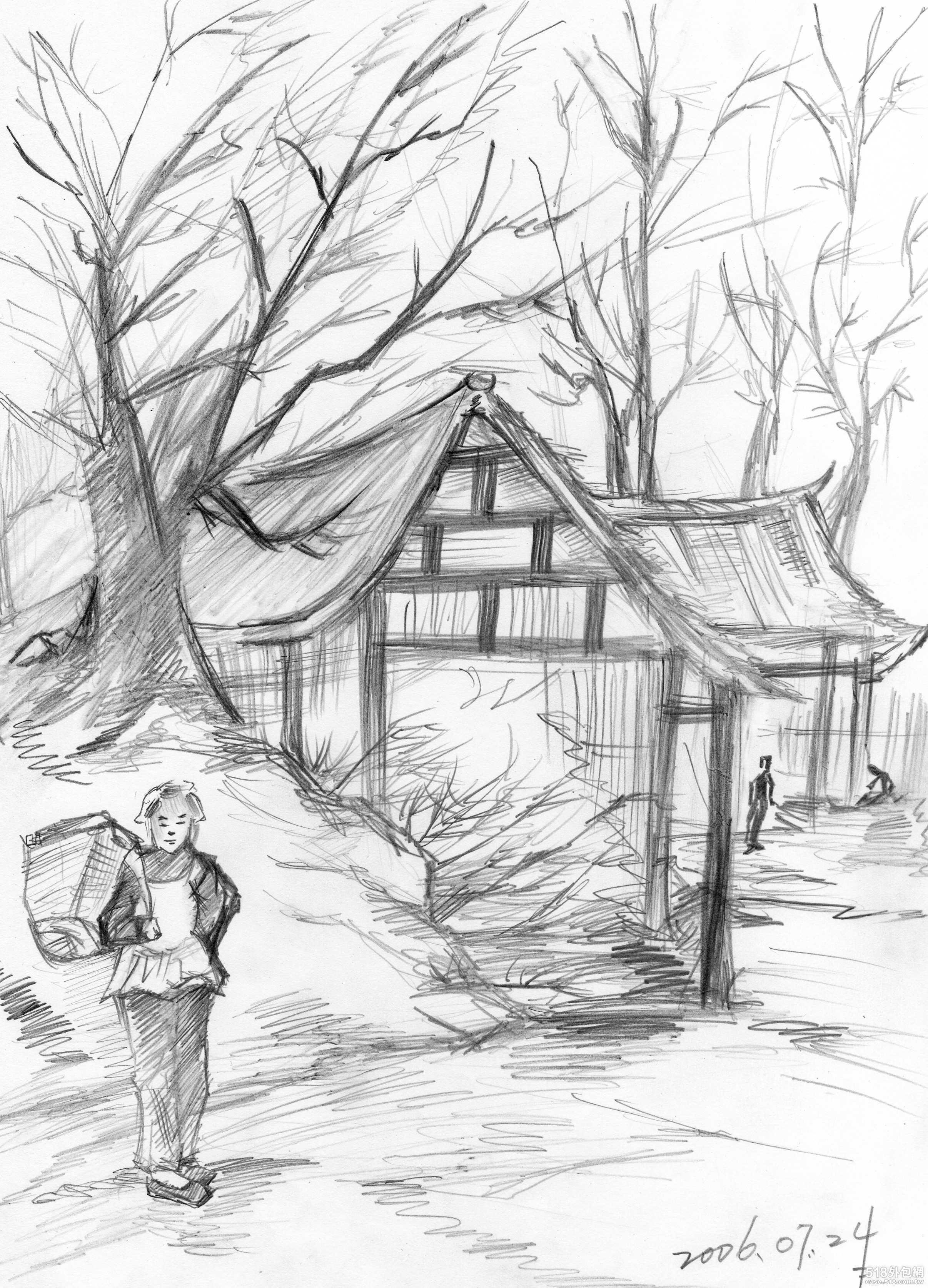 风景画素描图片 钢笔素描风景画 图,家乡的风景画 ...