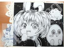 兔子&小雞Q板簽名板繪製-嫶玲